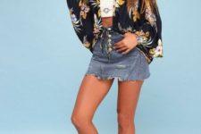 With floral cardigan, platform sandals and denim skirt