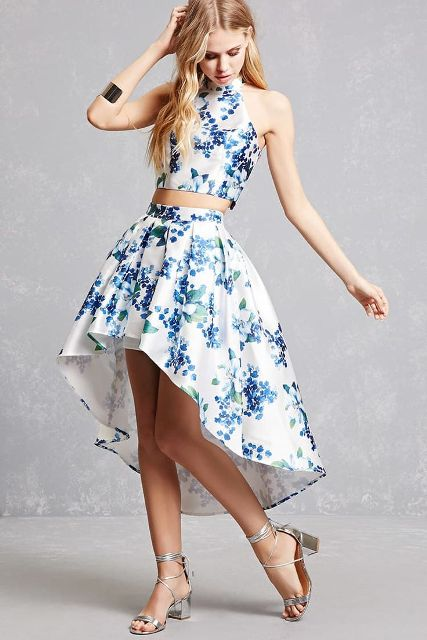 With floral crop top and silver lace up sandals