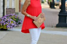 With gray shoes, white pants and beige embellished clutch