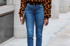 With jeans, clutch and white ankle strap shoes
