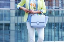 With labeled t-shirt, denim shirt, light yellow blazer, white pants and silver flat shoes