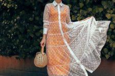 With orange midi dress, straw bag and white sandals