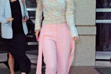 With pale pink trousers and beige pumps