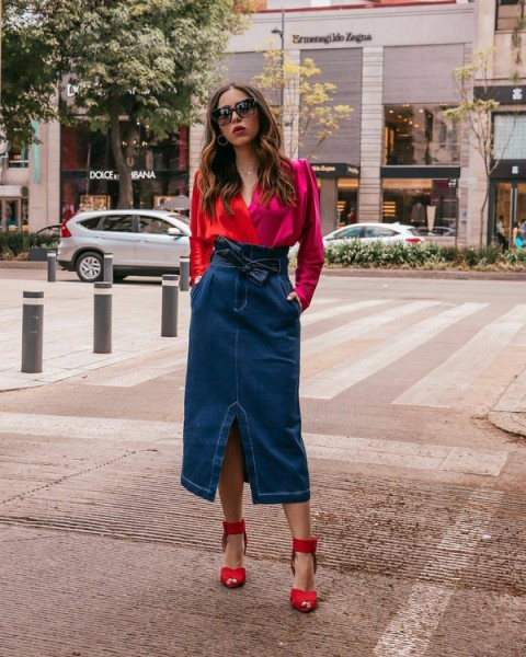 With red wrap blouse and red ankle strap shoes