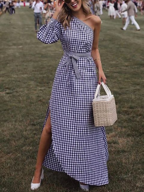 With straw bag and white low heeled shoes
