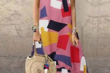 With straw rounded bag and flat sandals