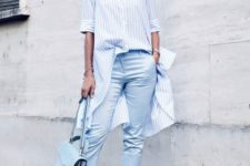 With striped button down long shirt, light blue crop pants and ankle strap shoes