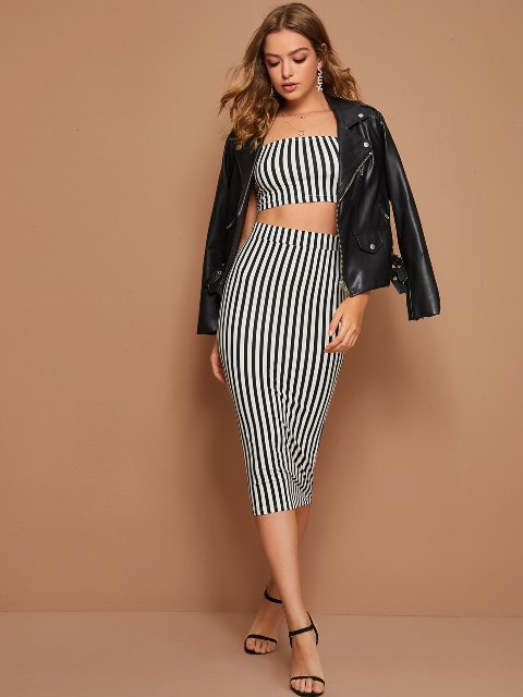 With striped midi skirt, black leather jacket and black shoes