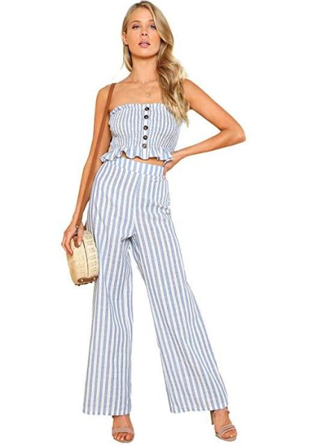 With striped wide leg trousers, straw bag and high heels