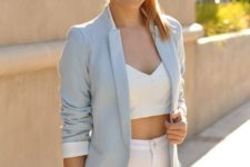 With white crop top and white skinny pants