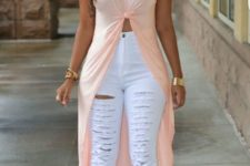 With white distresssed pants and beige lace up shoes