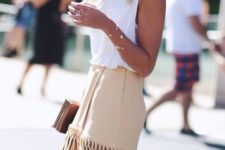 With white top and golden clutch