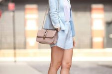 With white top, pale pink bag, light blue shorts and metallic pumps