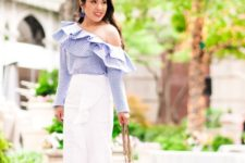 With white wrap skirt, chain strap bag and ankle strap high heels