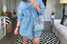 a blue denim shirtdress, quirky bright sandals, a clear bag and a hat for a beach look