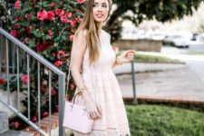 a blush lace knee sleeveless dress, a light pink bag and two tone slingbacks for a special occasion