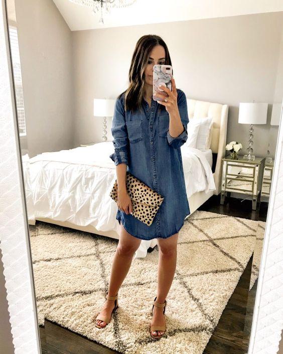 a casual look with a blue denim mini shirtdress, tan heels, an animal print clutch