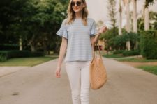 a casual look with a light blue ruffle sleeve top, white jeans, white slippers and a wicker bag