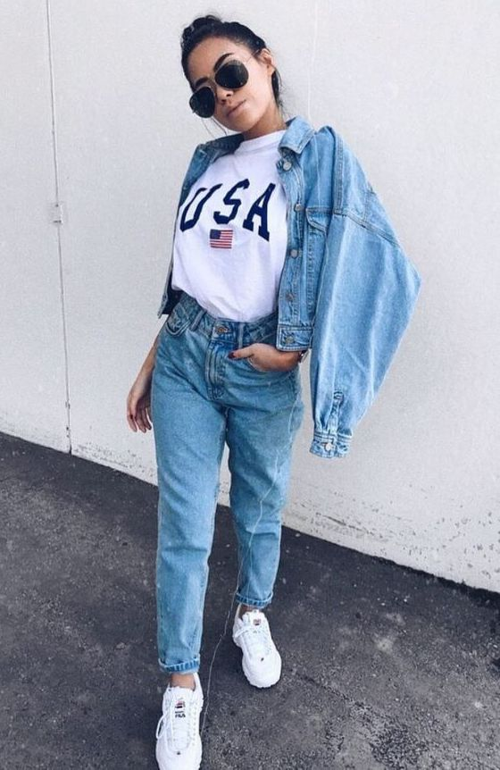a casual look with a white tee, blue boyfriends, a blue cropped denim jacket and white trainers