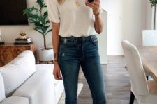 a casual look with a white tee, blue skinnies, two tone slingbacks and an accent necklace