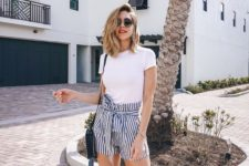 a casual summer look in a white t-shirt