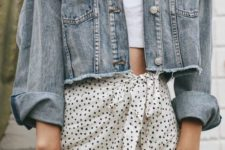 a chic girly outfit with a white crop top, a polka dot ruffle skirt, a blue cropped denim jacket