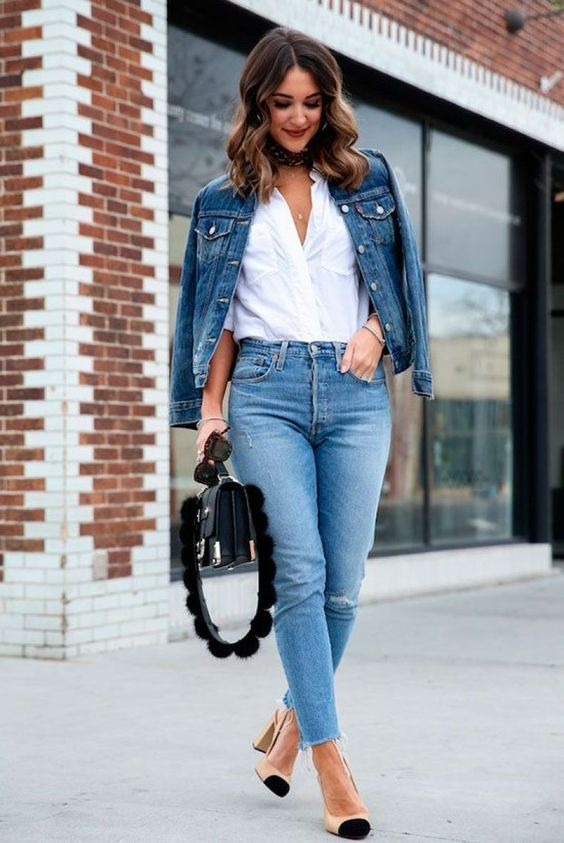 a cool summer outfit with a white shirt, blue jeans, a blue denim jacket, two tone slingbacks and a quirky bag