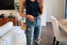 a date look with a black lingerie top, blue ripped jeans, two tone slingbacks and a nude bag