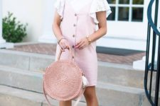 a pastel summer look with a white top with ruffle lace sleeves, a pink overall, a pink woven bag and white wedges