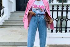 a printed tee, blue baggy jeans, shiny blush heels, a hot pink blazer and a clutch