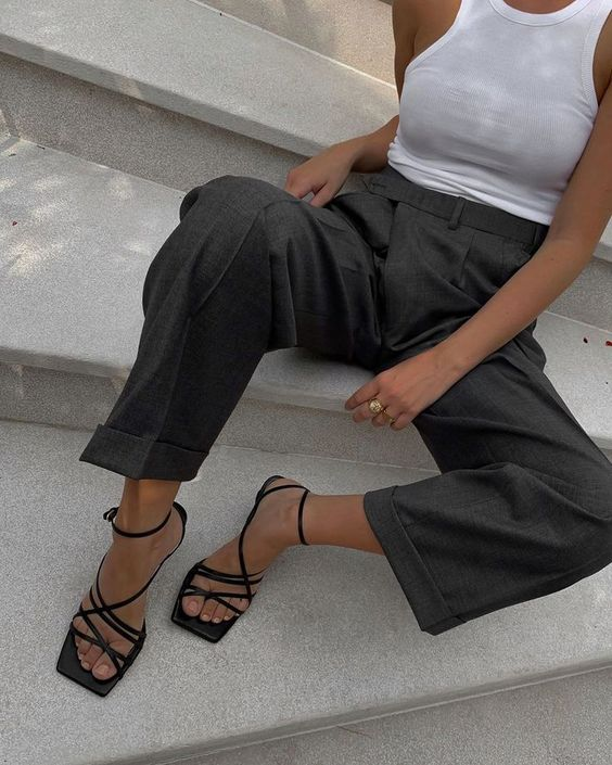 a simple look for work - a white sleeveless top, grey high waisted pants, black square sandals for this summer