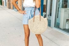 a summer look with a white spaghetti strap top, blue striped high waisted shorts, tan block heels and a wicker bag