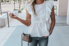 a summer look with skinnies, a white lace top with ruffle cap sleeves, nude shoes, a brown bag and statement earrings