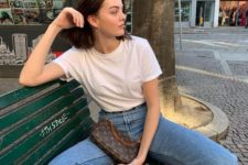 a white tee, blue jeans, white square toe lace up heels and a printed baguette bag for every day