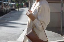 a white top, a white mini skirt and a brown baguette bag for a cute and chic date look