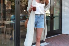 a white top, denim shorts, tan pointed toe slingbacks, a long cardigan and a brown bag