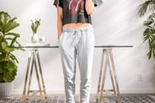 grey joggers, a black printed cropped tee for looking cool and relaxed at home