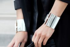 statement silver bracelets will make your look bold and catchy, especially if you wear them both