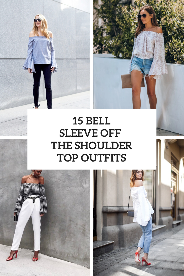 Outfits With Bell Sleeve Off The Shoulder Tops