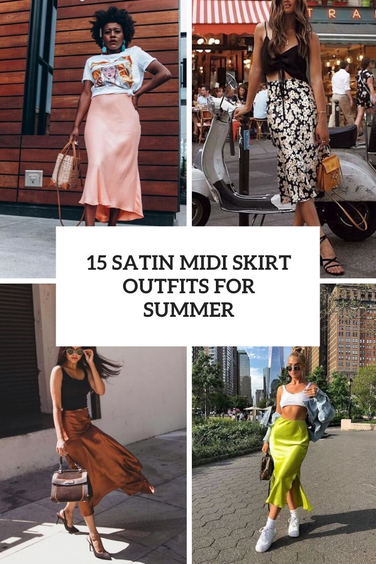 satin midi skirt outfits for summer cover
