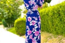 Floral long sleeve off the shoulder maxi dress