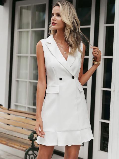 White sleeveless mini blazer dress
