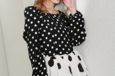 With black and white polka dot A-line skirt