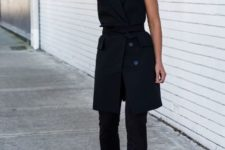 With black trousers and black high heels