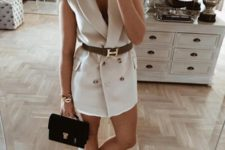 With brown belt, black bag and white sneakers