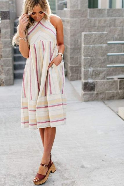 With brown leather platform sandals