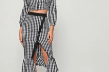 With checked ruffled midi skirt and black ankle strap high heels