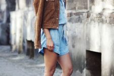 With denim romper and brown suede jacket