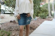 With denim skirt and purple sandals