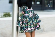 With floral ruffle midi skirt and printed shoes